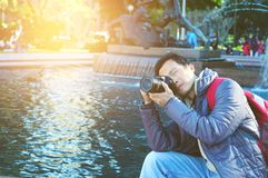 Male tourist photographer. Asian Male tourist taking picture in the city of Sydney , Australia Royalty Free Stock Images