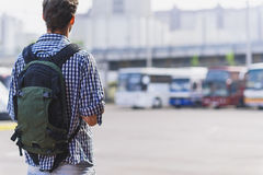 Male tourist is ready for trip Royalty Free Stock Photos