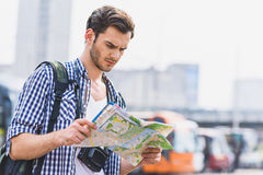 Male tourist searching for location Royalty Free Stock Photo