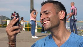 Male Tourist Smiling For Selfie stock video