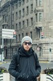 Male tourist standing at the Bund, Shanghai. In winter during snow Stock Photos