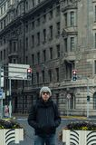 Male tourist standing at the Bund, Shanghai. In winter during snow Royalty Free Stock Photography