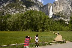 YOSEMITE FALLS, YOSEMITE NATIONAL PARK, CALIFORNIA, USA - May 16, 2016 Royalty Free Stock Image