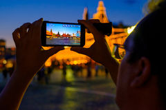 Male tourist taking picture of landmarks Stock Images