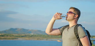 Male tourist tired. Stock Photography