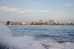 Male.Town.Maldives. View on Male town from boat Royalty Free Stock Photography