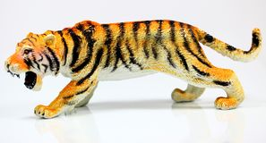 Male toy tiger. On a white background Royalty Free Stock Images