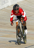 Male track cyclist. Ed Veal races at the 2012 Canadian Track Cycling Championships on Sept. 14, 2012 in Dieppe, Canada Royalty Free Stock Image