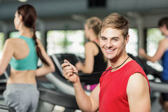 Male trainer discussing about performance Royalty Free Stock Photo