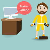 Male are training fitness with Trainer Online Stock Images