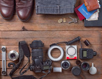 Male travel set. On a wooden table Stock Images