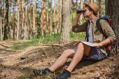 Male traveler looking for location Stock Photo