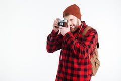 Male traveler making photo on camera Royalty Free Stock Image