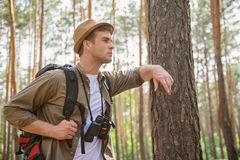 Male traveler making trip in forest Royalty Free Stock Photo