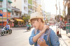 Male traveller carry heavy bags, look with tired expression afte. R long trip Royalty Free Stock Photos
