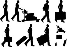 Male Traveller Silhouettes Royalty Free Stock Photos