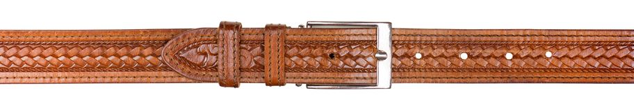 Male trouser belt made of genuine leather Stock Image