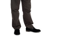 Male trousers and suede shoes. Stock Photo