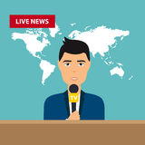 Male TV presenters sit at the table. Live news. News of the worl Stock Photos