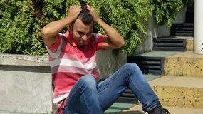 Male Under Stress. A handsome adult hispanic man Stock Images