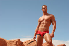 Male underwear model. Athletic, muscular man in red briefs Royalty Free Stock Photography