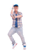 Male urban dancer performing. Full length picture of young male urban dancer performing on white background Stock Photography