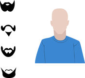 Male user interface avatar icon with four different beard and mustache Stock Photos