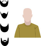 Male user interface avatar icon with four different big beard Stock Photos
