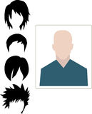 Male user interface avatar icon with four different hairstyle Royalty Free Stock Photos