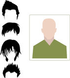Male user interface avatar icon with four different hairstyle Stock Image