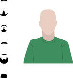 Male user interface avatar icon with six different beard and mustache Stock Photo