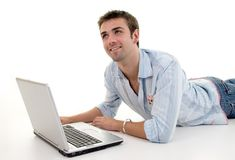 Male Using Laptop Stock Photo