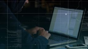Male using laptop for social media platform. Digital composite of male using laptop to look at social media platform while grid and binary codes move on the stock footage