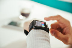 Male Using Smart Watch Stock Images