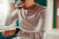 Male Using Smart Watch Royalty Free Stock Image