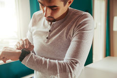 Male Using Smart Watch Royalty Free Stock Photography