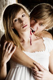 Male vampire is biting a young woman with a white Stock Photography