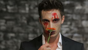 Male vampire gives a flower. Male vampire smelling a flower and gives it. Flower blurred. Man in the image of the vampire posing on black background of a brick stock footage