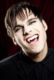 Male vampire smiling dangerously, showing fangs. Male vampire smiling dangerously, showing his fangs. He is wearing a black shirt Stock Photo