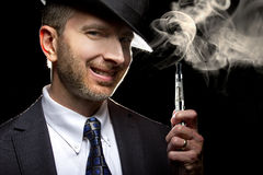 Male Vaping E-Cigarette Royalty Free Stock Photo