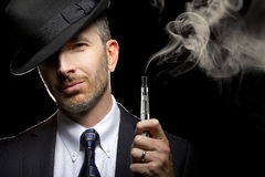 Male Vaping E-Cigarette Stock Photo