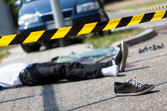Male victim of car accident. Male victim of a car accident, horizontal Royalty Free Stock Photos