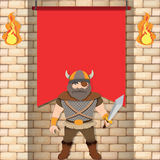 Male viking with red banner Stock Photo