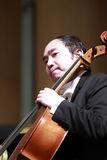 Male viola musician. Southern fujian symphony concerts in xiamen dance theater, amoy city, china. 2014-2-28 Stock Photos