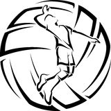 Male Volleyball Player with Ball Backgroun. Illustration of a male volleyball player in front of stylized volleyball Royalty Free Stock Photos