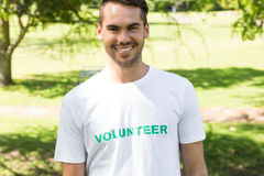 Male volunteer in park Royalty Free Stock Photo