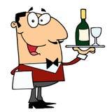Male Waiter. Happy Smiling Male Waiter serving stock illustration