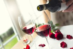 Dining table in restaurant isolated close-up wine glasses stock photography