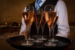 Male waiter welcomes guests with sparkling wine Stock Photos