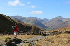 Free Male Walker On Mountain Footpath In Lake District Stock Images - 90318344